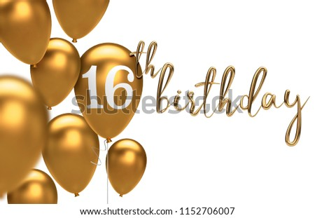 Gold Happy 16th Birthday Balloon Greeting Background 3D Rendering