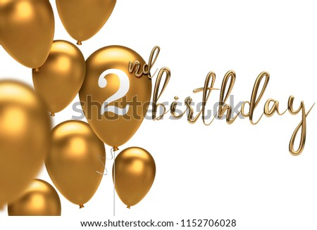 Gold Happy 2nd Birthday Balloon Greeting Background 3D Rendering