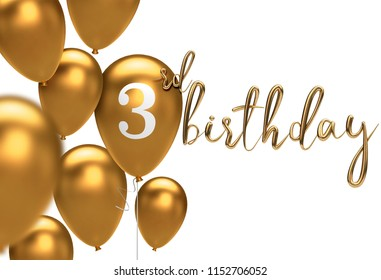 Gold Happy 3rd birthday balloon greeting background. 3D Rendering