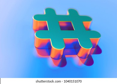 Gold Hashtag Icon With Abstract Reflections on Blue Background With Smooth Focus. 3D Illustration of Hash, Hash Mark, Hashtag, Tag, Topic, Trending Icon Set for Presentation.