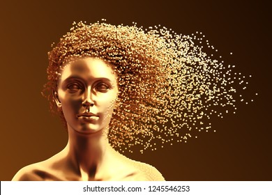 Gold Head Of Young Woman And 3D Pixels As Hair On Brown Background. 3D Illustration.