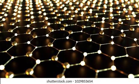 Gold hexagonal grid, science concept, 3d illustration