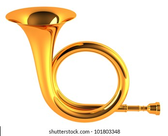 Gold Horn on a white background