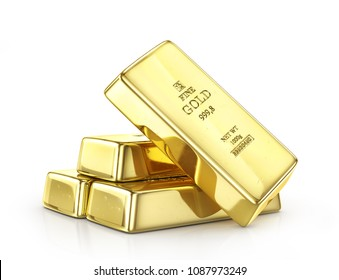 Gold ingot isolated on a white. 3d illustration