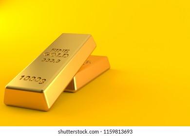 Gold ingots isolated on orange background. 3d illustration