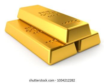Gold ingots isolated on white background. 3d illustration