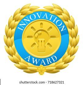 A gold innovation winner medal with a laurel wreath design