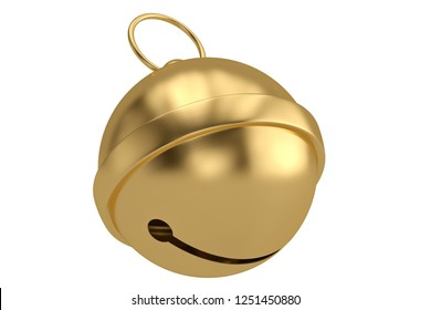 Gold jingle bell isolated on white background 3D illustration.