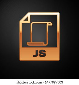 Gold JS file document icon. Download js button icon isolated on black background. JS file symbol