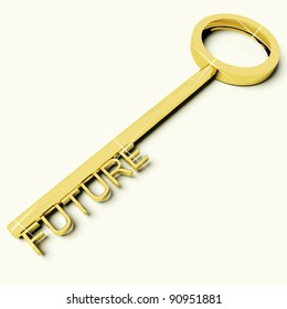 Gold Key With Future Text As Symbol For Destiny Or Evolution