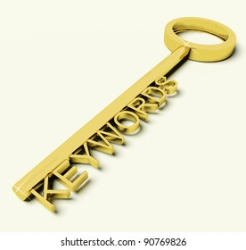 Gold Key With Keywords Text As Symbol For SEO Or Searching