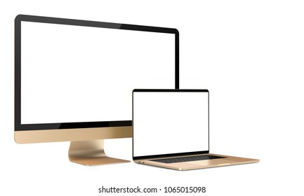 Gold laptop and tv display, isolated on a white background. 3d illustration.