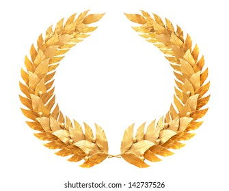 Gold laurel wreath - a symbol of the winner or valor and mind