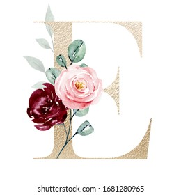 Gold letter e with watercolor flowers and leaves hand painting. Letterhead isolated. Floral alphabet, monogram initials perfectly for wedding invitation, birthday, greeting card and other design.
