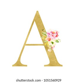 Gold Letter Monogram A with Watercolor Flowers