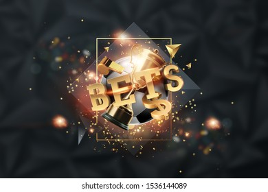 Gold Lettering Bets against soccer ball and dark background. Bets, sports betting, watch sports and bet. 3D design, 3D illustration.