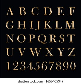 Gold letters and numbers on a black background.