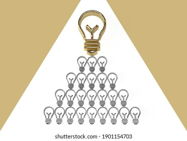 Gold light bulb idea pyramid on a background or frame with many silver bulbs. Abstract future banner concept with a winner for your business. 3d rendering