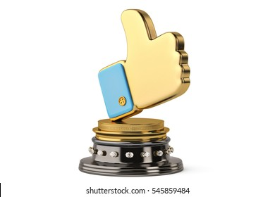 Gold like symbol Trophy on white background.3D illustration.