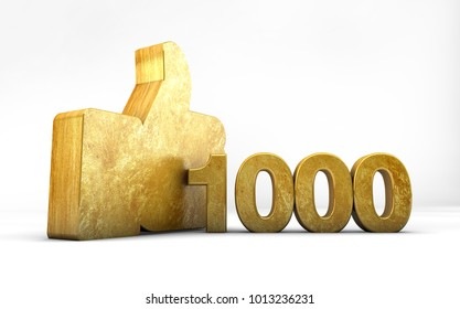 Gold Like Thumbs up 1000 thousand 3D render