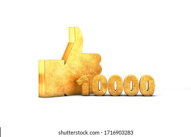Gold Like Thumbs up 10000 thousand 3D render Golden isolated on white