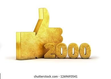 Gold Like Thumbs up 2000 thousand 3D render Golden isolated on white