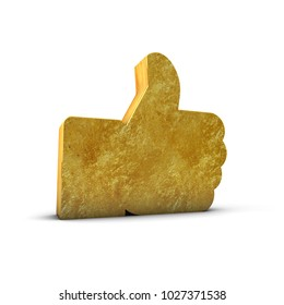 Gold Like Thumbs Up 3d Render isolated White
