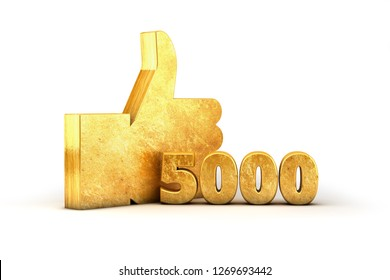 Gold Like Thumbs up 5000 thousand 3D render Golden isolated on white