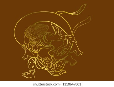 gold line art wind devil Japanese major art