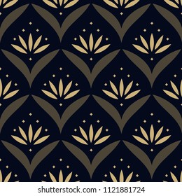 Gold lotus ethnic pattern. Simple geometric oriental floral all over motif. Japan wave seamless print block for interior textile, cloth fabric, garment, wallpaper, phone case. Look the same 1342460312