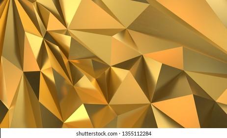 Gold Low poly triangle, trigon, triangular  background. abstract golden geometric crystals. Minimal quartz, stone, gems. 3d render