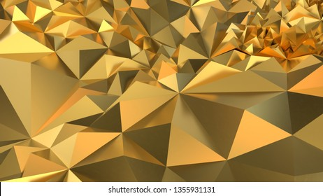 Gold Low poly triangle, trigon, triangular  background. abstract golden geometric crystals. stone, gems. 3d render