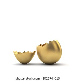 Gold luxury easter egg cracked open. 3D Rendering