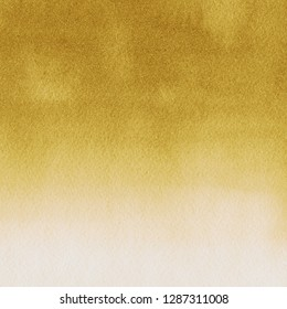 Gold luxury ink and watercolor textures on white paper background. Paint leaks and ombre effects. Hand painted vintage texture.