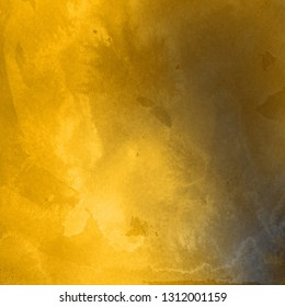 Gold luxury ink and watercolor textures on white paper background. Paint leaks and ombre effects. Hand painted abstract image.