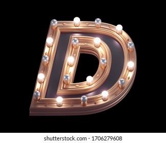 Gold luxury lamp light font. 3d rendering