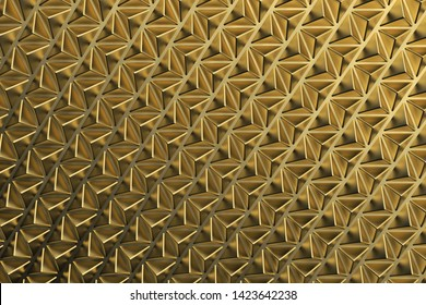 Gold luxury triangular abstract background. Geometric absract surface. 3d rendering