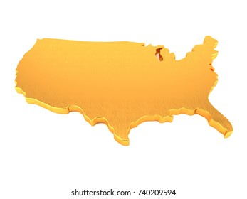 Gold Map of USA. 3D Render