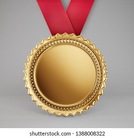 gold medal isolated on a white. 3d illustration
