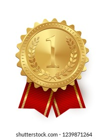 Gold medal with red ribbons isolated on white background.