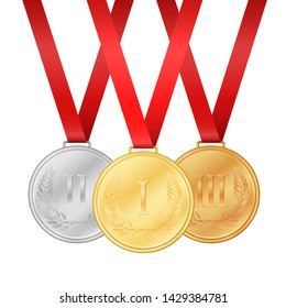 Gold medal. Silver medal. Bronze medal. Medals set isolated on the white background illustration.