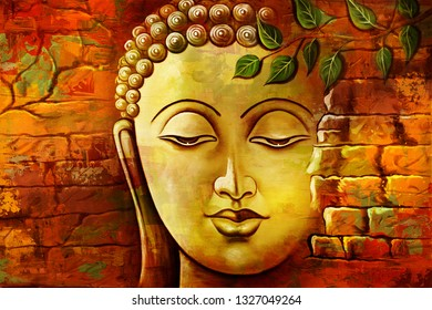 Gold Meditating lord buddha texture wall background canvas oil painting