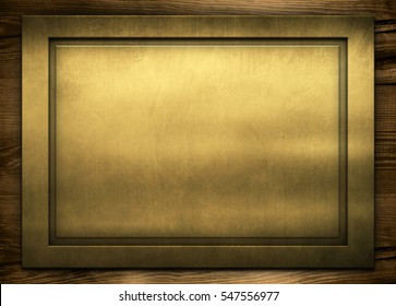 Gold Metal frame and wooden wall with empty space. Golden table on wood background. Old metallic texture in classic style