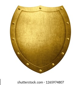 Gold metal medieval shield isolated on white 3d illustration