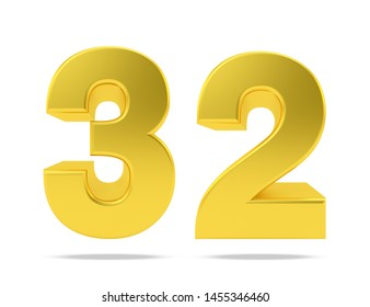 Gold metal number 32 thirty two isolated on white background, 3d rendering.