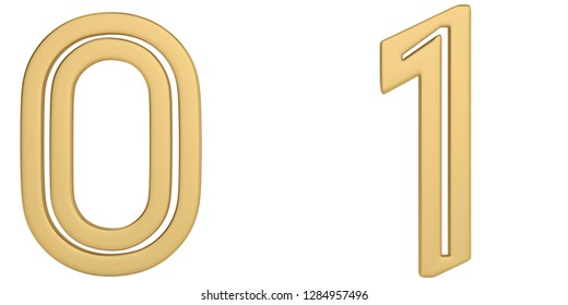 Gold metal numeral isolated on white background 3D illustration.