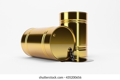 Gold Metal Oil Barrel on White Background, Industrial Concept. WTI, Brent. OPEC