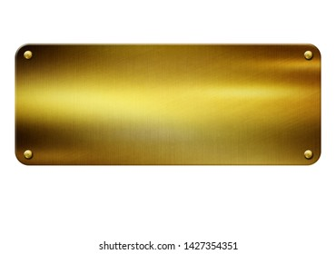 Gold metal plate with rivets on white background 3D illustration