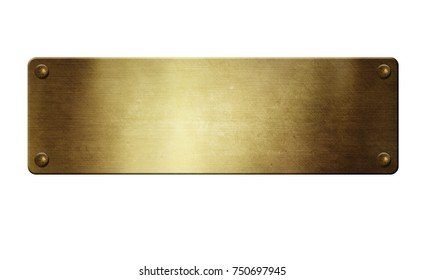 Gold Metal plate with rivets on white background