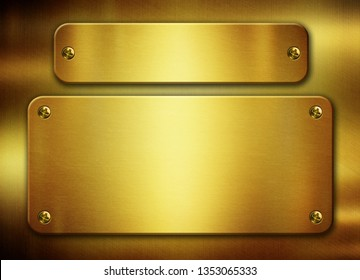 Gold metal plates with rivets 3d illustration
